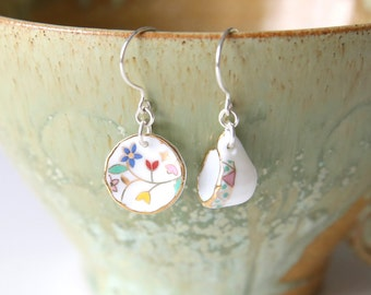 Colourful Tea For One Earrings - Mint Green White Flower Tea Cup and Plate Dangle Earrings, Sterling Silver Jewellery, FREE SHIPPING