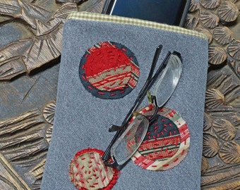 Boro Style Upcycled Clothing Pouch, Glasses Case, Cell Phone Pouch