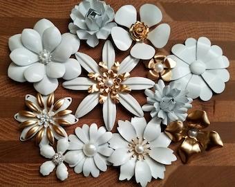 White Enamel Flower Brooch Lot 12 Flat Back Metal Flowers or Pins White and Gold Brooch Bouquet Lot Enamel Broach Craft Flowers FLOT9