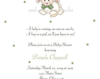 Baby Lamb Sheep Baby Shower Birthday Invitations | Custom Design | Professionally Printed Card Stock | Boy Girl Twin Sibling Stationery Best