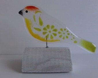 Fused Glass Love Bird On Wood Handmade Gift Ornament Valentine's Day