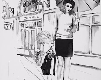 Shopping in Paris Fashion Illustration - Print from Original Watercolor - Lana Moes Art - Parisian Girl - Chanel Store in Paris