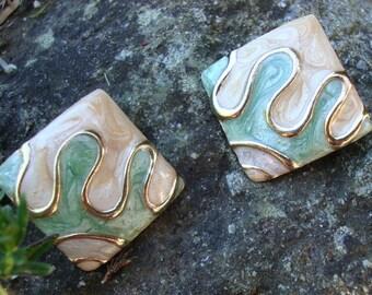 1980's Mint Green, Gold and Beige Enamel Pierced Earrings - 80's Enamel Post - Enamel Earrings - Abstract Enamel Earrings - Enamel Post