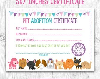 Certificate etsy pet adoption certificate pet adoption birthday party puppy birthday printable certificate instant yadclub Gallery