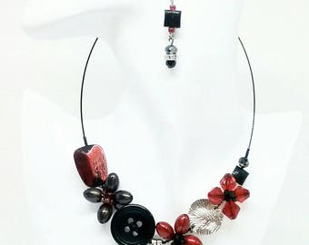 Necklace earring set , Colourful necklace, Red necklace, Black necklace, lightweight necklace, Girly necklace, Flower necklace