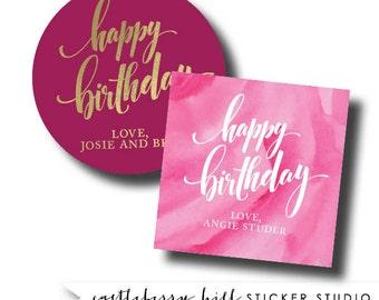 Happy birthday sticker, birthday gift sticker, gift label, happy birthday label, tween gift label, simple sticker for gifts, to from sticker