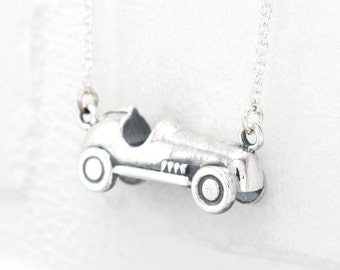 Silver Monopoly Car Pendant on Long Chain. Monopoly Car Token Necklace. Sterling Silver Vintage Racing Car. Geek Jewelry. PLAY Collection.
