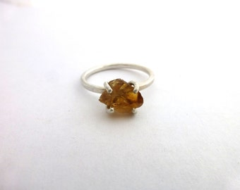 Raw Citrine and Sterling Silver Ring Rough Gemstone Jewelry