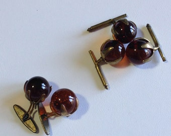 Vintage 1940's Lucite and Brass Art Deco Cuff Links and Lapel Decor (JT3)