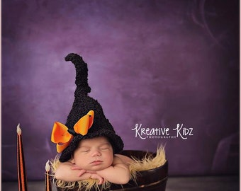 Baby Girl Hat CUTE HALLOWEEN Newborn Baby Girl  Crochet knit Witch Hat With Face and Hair 0 3 6 months