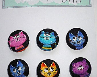 Buttons, Covered Buttons, Fabric Covered Buttons, Fabric Buttons, 22mm Buttons, Clothes Buttons, Fastenings, Shank Buttons, Cat Buttons,