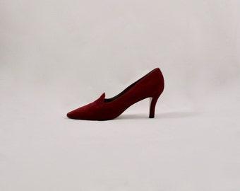 WALTER STEIGER 80s oxblood pumps / pointed toe pumps / 9.5 - 41 / burgundy heels / minimalist / loafer heels / low heel pumps