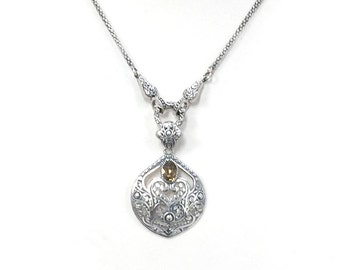 Sterling Silver and Topaz Gemstone Necklace