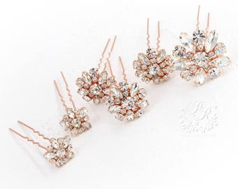 Weddings Hair Pin Rhinestone hair pins Bridal hair pins bridesmaid hair pins crystal hair pins Rose gold hair pins hair pins Daisy