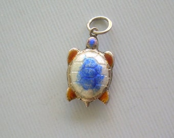 CHINESE SEA TURTLE Charm Pendant-Vintage Sterling Silver-Orange Blue White Enamel-Puffy 3D-Lucky Asian Reptile Animal Jewelry-00426