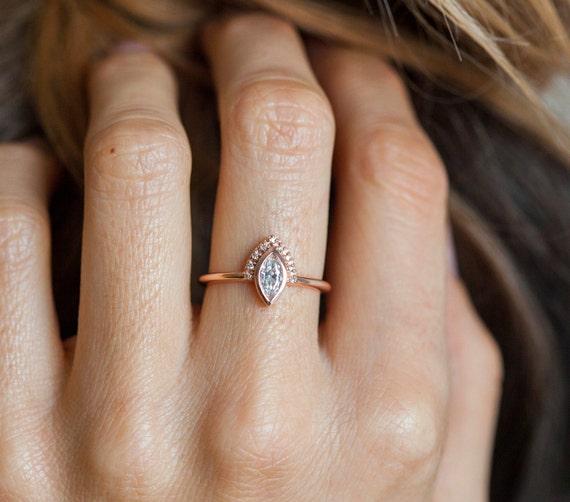 Gold Engagement Ring Rose Gold Diamond Ring Delicate Diamond