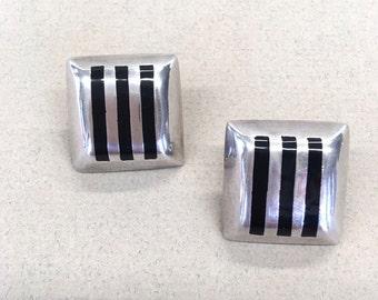 Taxco Earrings Onyx Silver Earrings Modernist Mexico Earrings Stripes Large Geometric Earrings 925 Sterling Silver