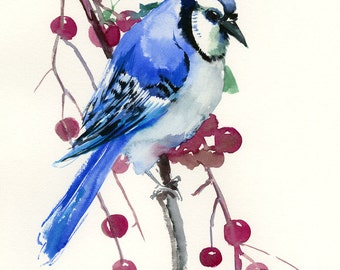 Blue Jay Painting, original watercolor 12 x 9 in, yard birds, blue bird wall art, blue green
