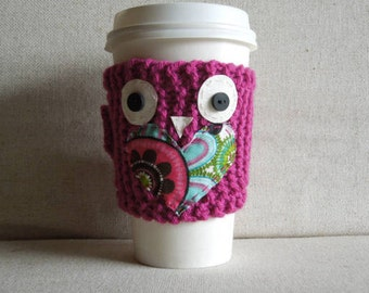 Pink Owl Mug Cozy, Cup Cozy, Mug Sweater, Coffee Sleeve, Coffee Cozy