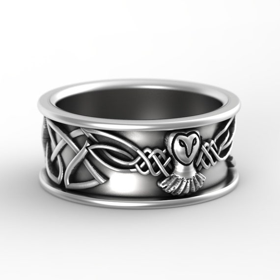 Sterling Silver Owl Wedding Ring, Owl Wedding Band, Celtic Wedding Rings, Sterling Silver Owl Ring, Irish Wedding Band, CR-1108