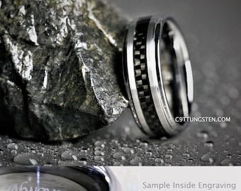 8MM Mens Brushed Silver Tungsten With Black Carbon Fiber Inlay Wedding, Engagement, Anniversary Ring Custom Laser Engraved Inside