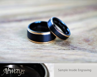 10MM & 6MM Tungsten Wedding Set, Brushed Black With Rose Gold Step Custom Engraved Inside