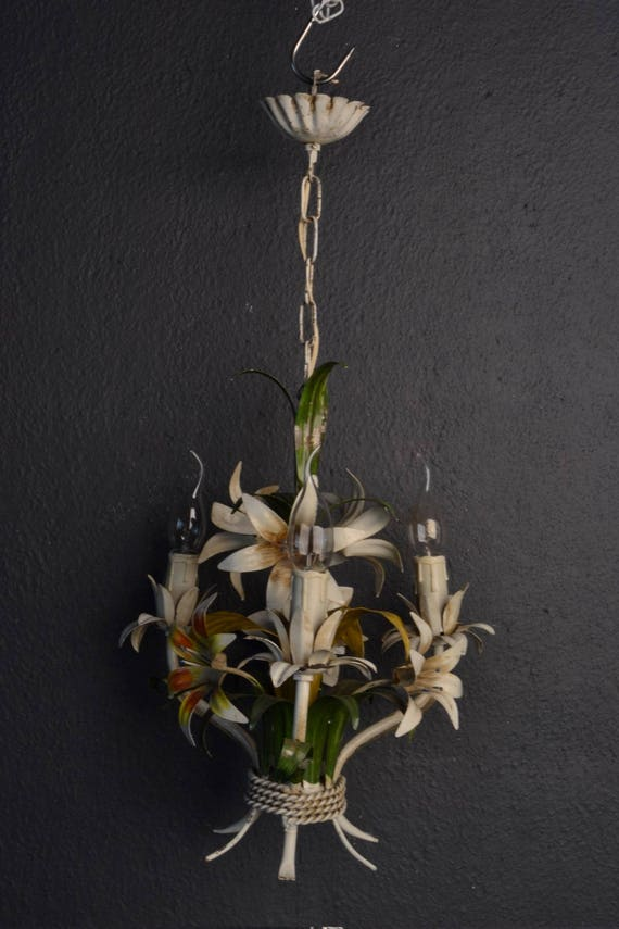 Tole chandelier with lilies