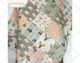 Sage Baby Quilt Girl, Woodland Crib Bedding, Baby Bedding Girl, Crib Bedding Deer, Baby Blanket Woodland, Crib Bedding, Sage Forest