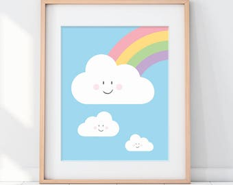 Kids Room Art, Nursery Clouds, Colorful Nursery Art, Kids Room Decor, Rainbow Nursery, Rainbow Nursery Art, Happy Cloud, Nursery Decor, Cute