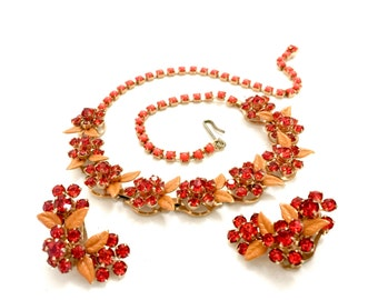 Coral Rhinestone & Enamel Demi, Necklace Earring Set, Floral Design,  Rhinestone Accents,Dimensional Design, Vintage Jewelry, Statement Set