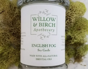 English Fog All Natural Soy Candle, Bergamot Candle, Victorian Fragrance, Tea Lover, Earl Grey Tea, Soy Candles for Men, Jar Candle