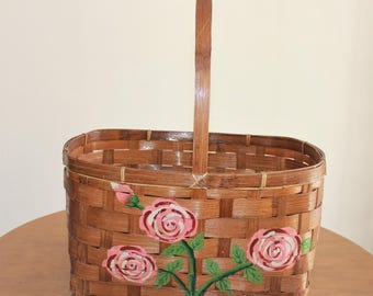 Vintage Large Woven Handled Basket with Hand Painted Pink Roses