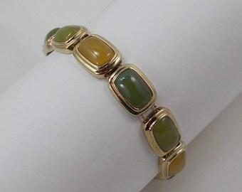 Monet Apple Green, Pale Green, and Yellow Glass Carbochon Slider Bracelet  0558