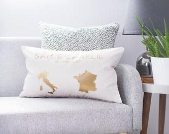Personalised Country Destination Cushion - Map Cushion - Country Cushion - Wedding Date Keepsake - Personalised Cushion - Housewarming Gift