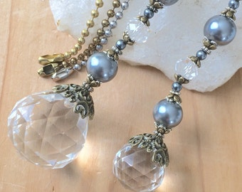 Grey light pull or pair of ceiling fan pulls. Crystal prism ball chain pull, decorative pull chain, lighting decor, sun catcher.