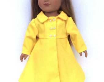 18 Inch Doll Coat, Yellow Doll Coat, Spring Doll Clothes, Summer Doll Clothes