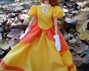 Super Mario modern style Princes Daisy dress and gloves fitted for modern barbie and similar 1/6th scale fashion dolls.