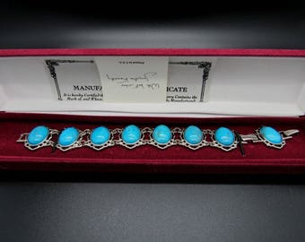 Jackie Kennedy Turquoise Bracelet - Rhodium Plated, Box and Certificate - Sz 7 or 8