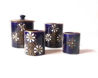 French antique Tobacco Jar Tobacco Pots and Match Striker 19th Century Enameled Faience Free Shipping