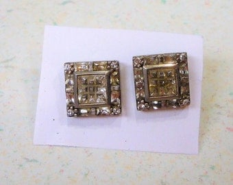 Silver 925 Marked Cubic Zirconia Large Square Edwardian Style Pierced Post Earrings Vintage