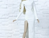 ELENPRIV Ivory ultrasuede dress with lace snowflakes  for Fashion royalty FR2 and similar body size dolls.