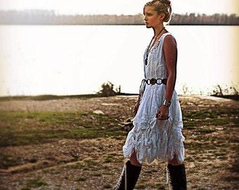 Pavia cotton midi sleeveless lace dress top White Bohemian cotton BOHO dress Ruffled Ibiza lace gypsy shabby chic festival top caftan blouse