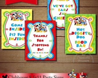 8.5x11 Mickey Mouse Clubhouse Signs, Set of Four Clubhouse Birthday Party Signs, DIY Printable Clubhouse Party Signs, Mickey Mouse Signs