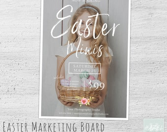 Easter Mini Session Template, Easter Photography Marketing Board Template, Photography Marketing, Spring, Photoshop, Photographer, 06-002