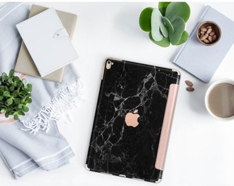 Black Marble and Rose Gold Smart Cover Hard Case for iPad Air 2, iPad mini 4 , iPad Pro , New iPad 9.7 2017 - Platinum Edition