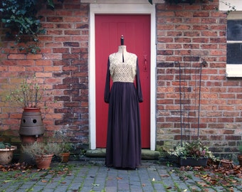 1970s maxi dress / 70s brown and gold dress / vintage chiffon dress by Mademoiselle