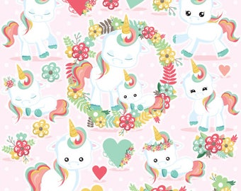 80% OFF SALE Unicorn clipart commercial use, unicorns vector graphics, unicorn digital clip art, floral clipart, digital images  - CL1081