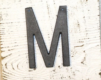 M - 5 Inch Cast Iron Metal Letter M - WITH DRILL HOLES for Mounting