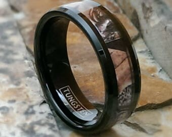 Black Tungsten 8mm Camouflage Personalized Mens Womens Wedding Band Ring Sizes 9 - 15 Promise Ring Engagement Ring ( FREE ENGRAVING ) AZ95