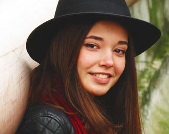 Black fedora hat - Black felt hat - Women winter hat - Everyday black hat - Unisex fedora hat